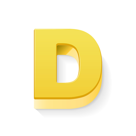 3D image yellow letter D isolated on white background