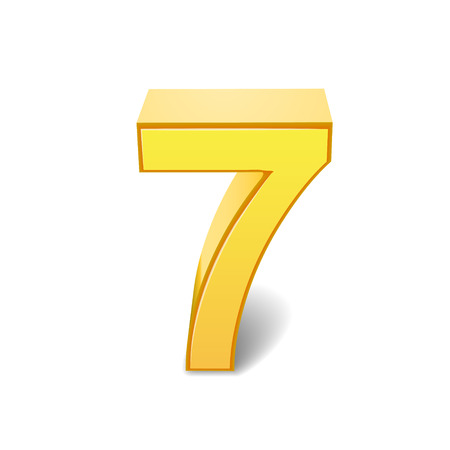 3D image shiny yellow number 7 isolated on white background