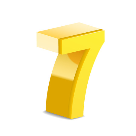 number 7: 3D image shiny yellow number 7 isolated on white background