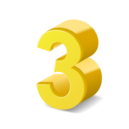number 3: 3D image shiny yellow number 3 isolated on white background