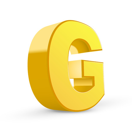 3d image: 3D image yellow letter G isolated on white background