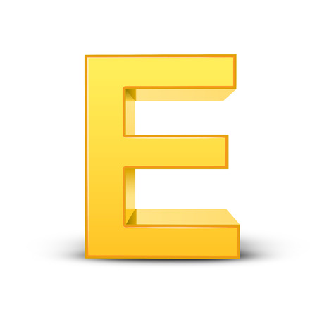 3d image: 3D image yellow letter E isolated on white background