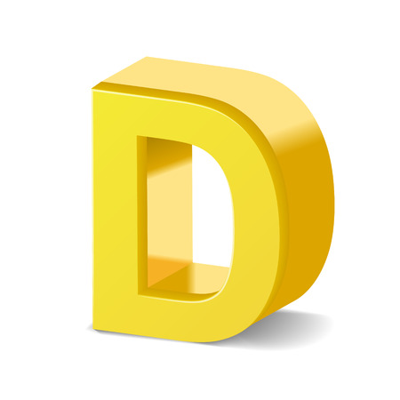 3d image: 3D image yellow letter D isolated on white background