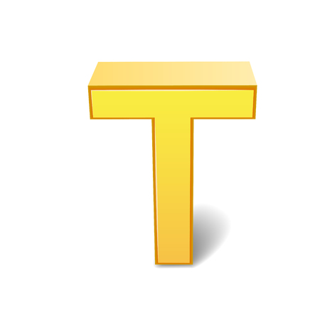 3d image: 3D image yellow letter T isolated on white background