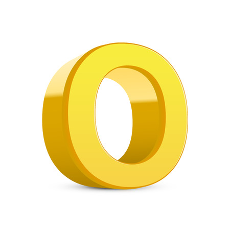 3d image: 3D image yellow letter O isolated on white background Illustration