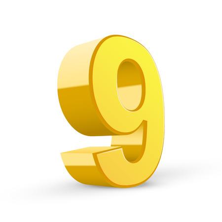 3D image shiny yellow number 9 isolated on white background Illustration