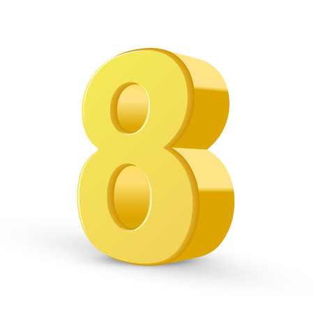 number 8: 3D image shiny yellow number 8 isolated on white background