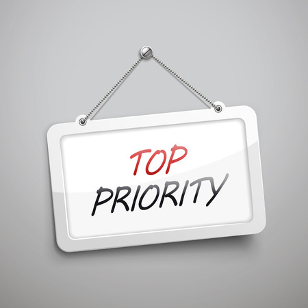 priority: top priority hanging sign, 3D illustration isolated on grey wall