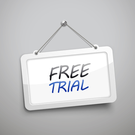 free trial: free trial hanging sign, 3D illustration isolated on grey wall