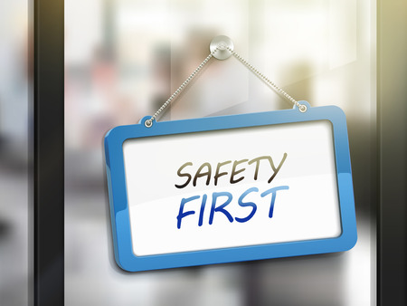 ad: safety first hanging sign, 3D illustration isolated on office glass door Illustration