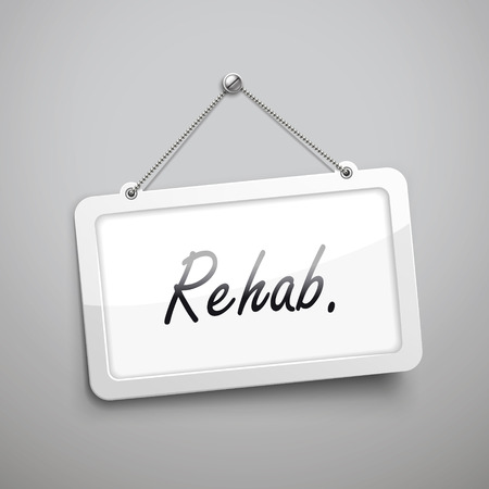 regiment: rehab hanging sign, 3D illustration isolated on grey wall
