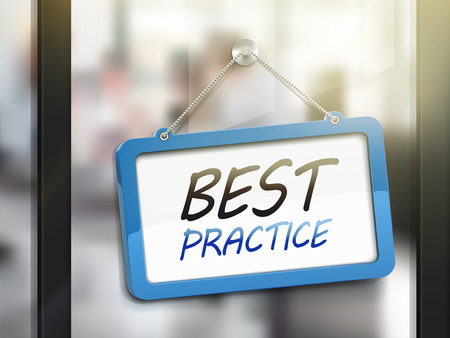 norm: best practice hanging sign, 3D illustration isolated on office glass door