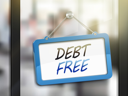 glass door: debt free hanging sign, 3D illustration isolated on office glass door