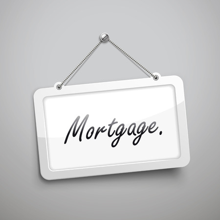 considerations: mortgage hanging sign, 3D illustration isolated on grey wall Illustration