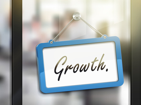 glass door: growth hanging sign, 3D illustration isolated on office glass door