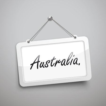 commercial sign: Australia hanging sign, 3D illustration isolated on grey wall