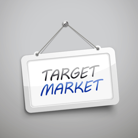 target market: target market hanging sign, 3D illustration isolated on grey wall