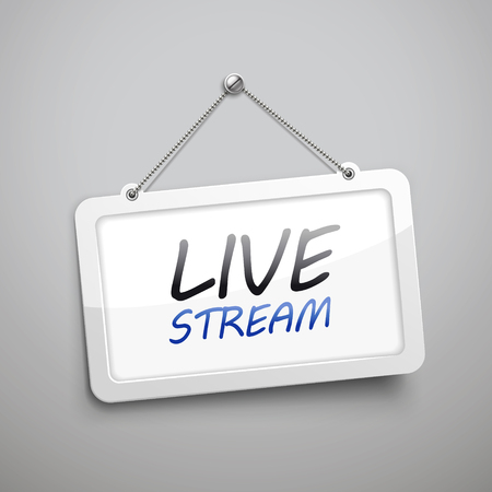 live stream sign: live stream hanging sign, 3D illustration isolated on grey wall