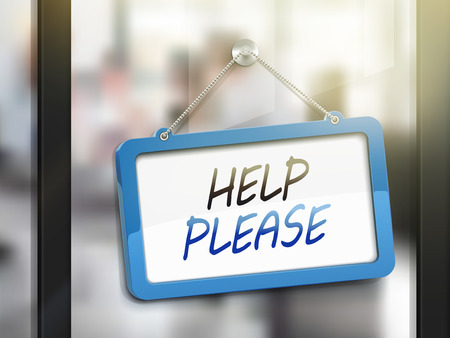 commercial sign: help please hanging sign, 3D illustration isolated on office glass door