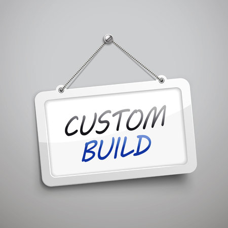 made to order: custom build hanging sign, 3D illustration isolated on grey wall