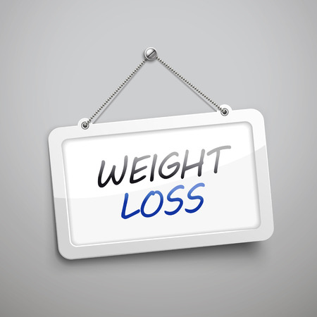 thrilled: weight loss hanging sign, 3D illustration isolated on grey wall Illustration