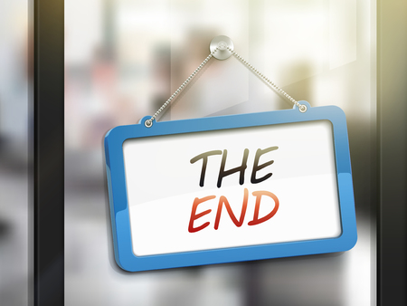 finale: the end hanging sign, 3D illustration isolated on office glass door