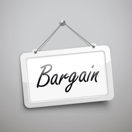 department store: bargain hanging sign, 3D illustration isolated on grey wall