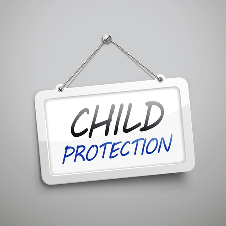 ad board: child protection hanging sign, 3D illustration isolated on grey wall
