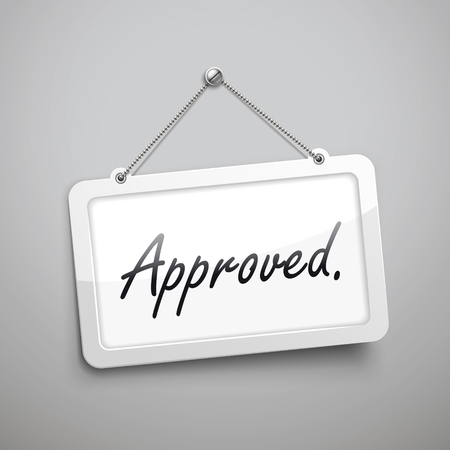 accredit: approved hanging sign, 3D illustration isolated on grey wall