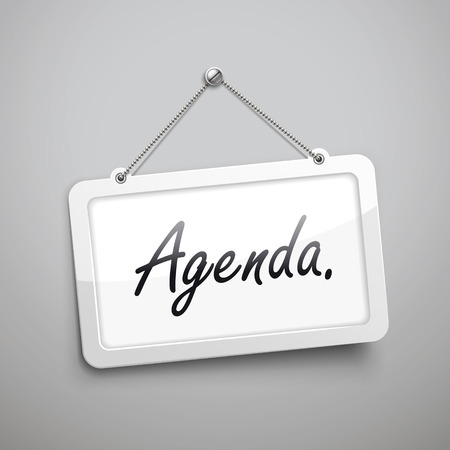 schedule system: agenda hanging sign, 3D illustration isolated on grey wall