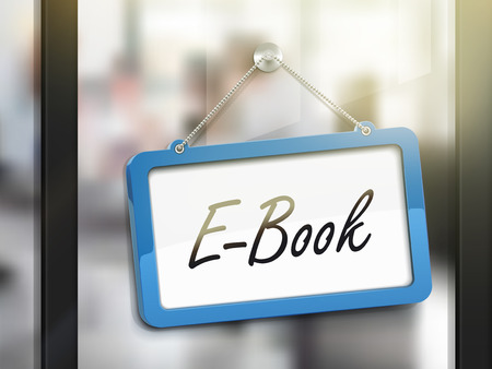 glass door: e-book hanging sign, 3D illustration isolated on office glass door