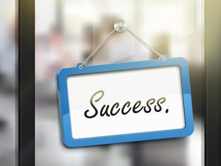 glass office: success hanging sign, 3D illustration isolated on office glass door Illustration
