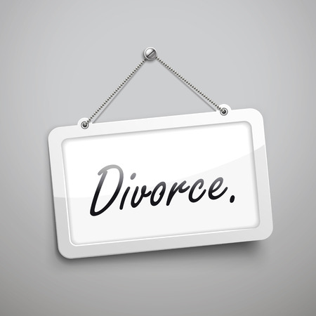 couple fight: divorce hanging sign, 3D illustration isolated on grey wall