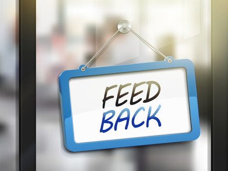 complain: feedback hanging sign, 3D illustration isolated on office glass door