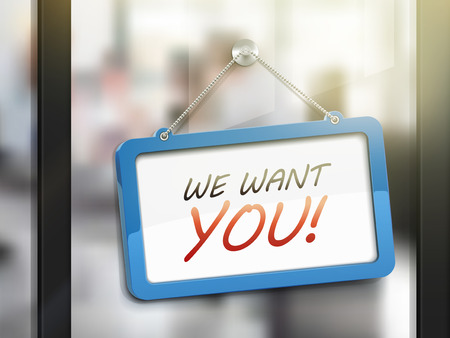 applicant: we want you hanging sign, 3D illustration isolated on office glass door