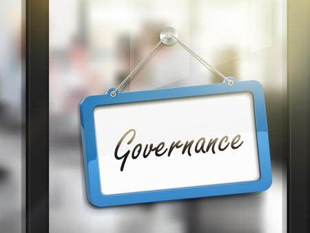 gobierno corporativo: gobierno muestra que cuelga, ilustraci�n 3D aislada en la puerta de cristal de la oficina