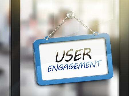 strategic advantage: user engagement hanging sign, 3D illustration isolated on office glass door Illustration