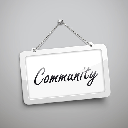 la union hace la fuerza: community hanging sign, 3D illustration isolated on grey wall