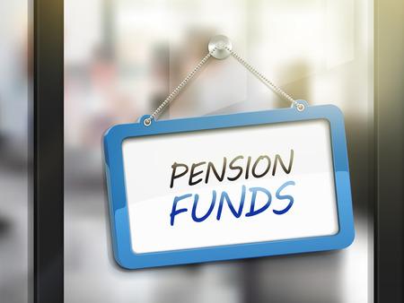 glass door: pension funds hanging sign, 3D illustration isolated on office glass door Illustration