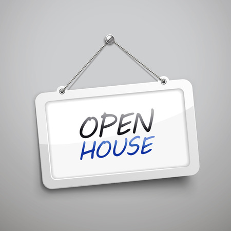 grey house: open house hanging sign, 3D illustration isolated on grey wall