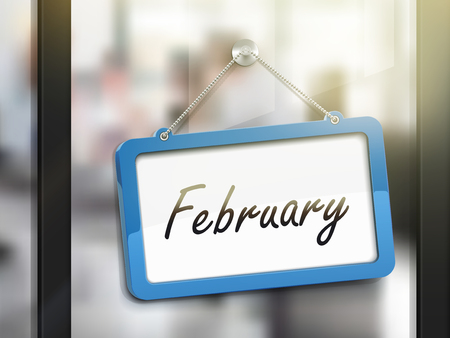 glass door: February hanging sign, 3D illustration isolated on office glass door