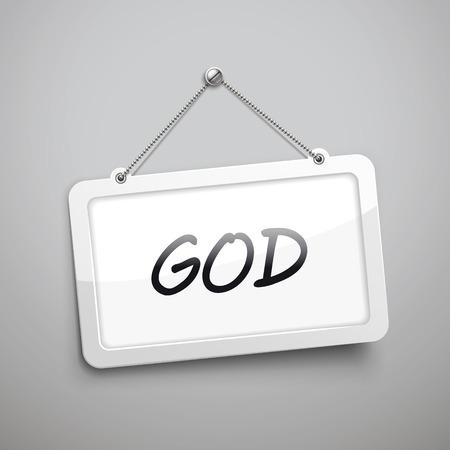 god 3d: GOD hanging sign, 3D illustration isolated on grey wall Illustration