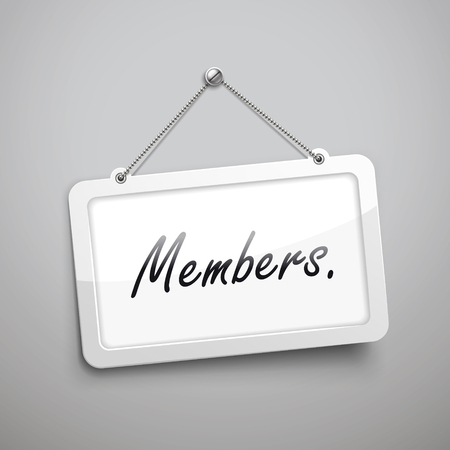 log wall: members hanging sign, 3D illustration isolated on grey wall