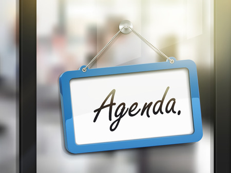glass office: agenda hanging sign, 3D illustration isolated on office glass door