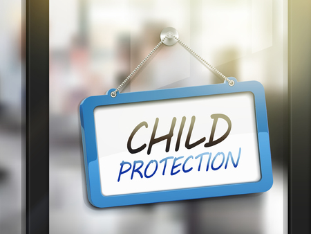 child care: child protection hanging sign, 3D illustration isolated on office glass door