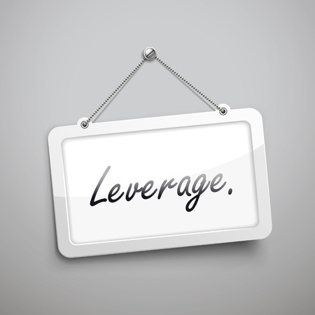 leverage: leverage hanging sign, 3D illustration isolated on grey wall Illustration