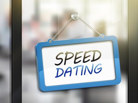 Speed-Dating hängen Zeichen, 3D-Darstellung auf Büro-Glastür isoliert
