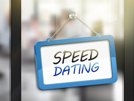 speed dating: speed dating hanging sign, 3D illustration isolated on office glass door Illustration