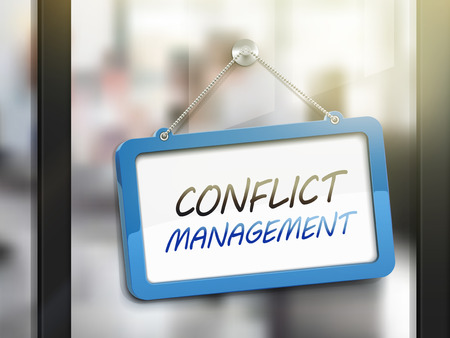 oppose: conflict management hanging sign, 3D illustration isolated on office glass door