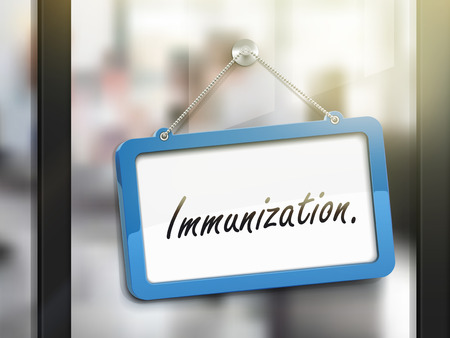 glass door: immunization hanging sign, 3D illustration isolated on office glass door